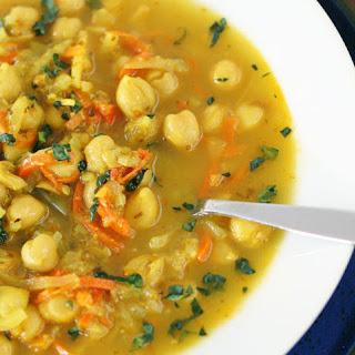 """Chickpea Celeriac Spiralized """"Noodle"""" Soup"""