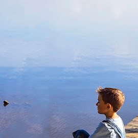 Two Turtles and a Boy by Sabrina Causey - Babies & Children Children Candids ( slingshot, turtle, boy, water, lake,  )