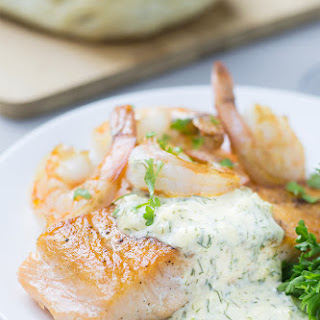 Seared Salmon and Shrimp with Creamy Dijon Dill Sauce.