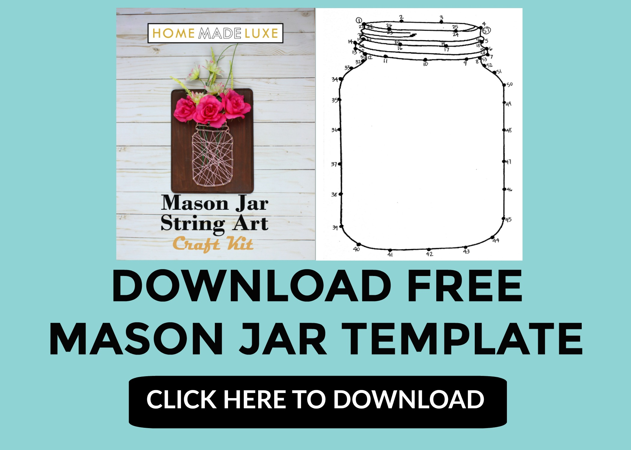 Mason Jar Template String Art Tutorial Pinterest