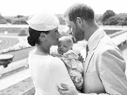 Prince Harry and Meghan, Duchess of Sussex, pose with their son, Archie Mountbatten-Windsor, on the day of his christening, July 6 2019, at Windsor Castle, United Kingdom.