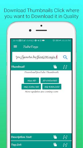 UTube Tags And Thumbnail Downloader screenshot 3