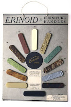 """Photo: Another sampler for Erinoid - this was another name (mainly in England) for casein plastic, and was effectively identical to Galalith. I understand that """"Erin"""" was used as part of the name as much of the milk rennet used was sourced from Ireland.   Note the address of the makers as shown - Lightpill Mills, Stroud, Glos, UK. This was very close to where The British Chess Company (which had used Xylonite, an earlier form of plastic) had its factory (at Rock Mill) - the dates for these companies however do not marry up (1911, Syrolit Ltd, which became Erinoid Ltd in 1914 - it eventually became part of BP) ."""