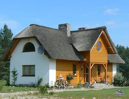 Mały domek z dachem trzcinowym z częściowo drewnianą elewacją