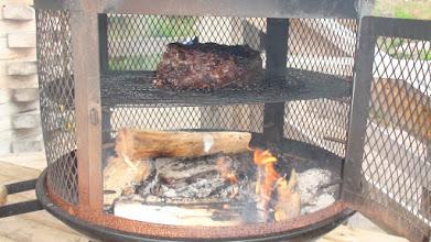 Photo: Preparing a Wild Venison Roast  Prior to our Paddle to the Pow Wow