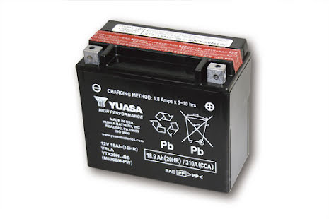 YUASA MC-batteri YTX 20HL-BS underhållsfritt (AGM) inkl. syrapack