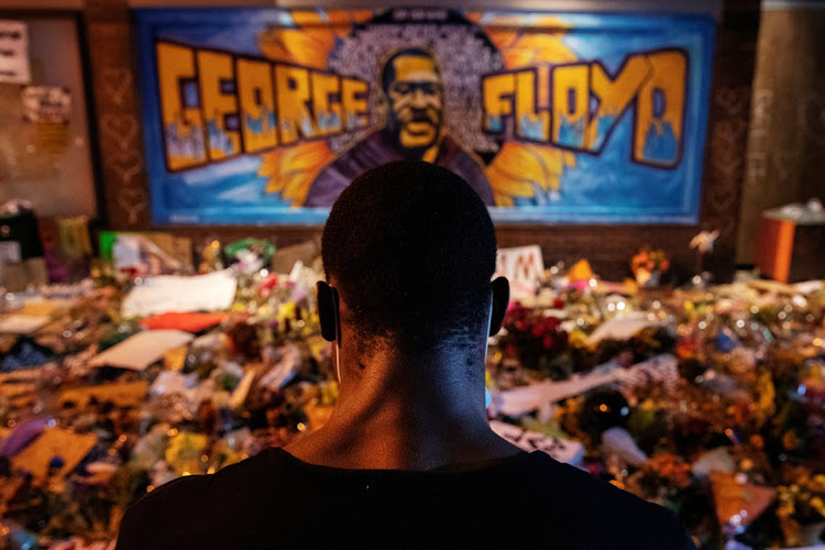 A makeshift memorial honouring George Floyd on June 1 in Minneapolis at the spot where he was taken into custody and died. Picture: REUTERS/LUCAS JACKSON