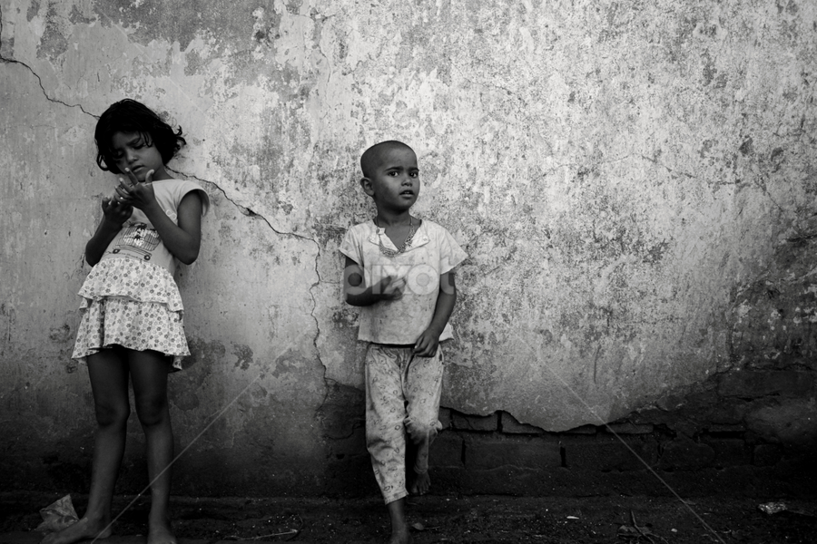 We r like this.. by Sandip Ghose - Babies & Children Child Portraits ( childen, black and white, kolkata, background, portrait )
