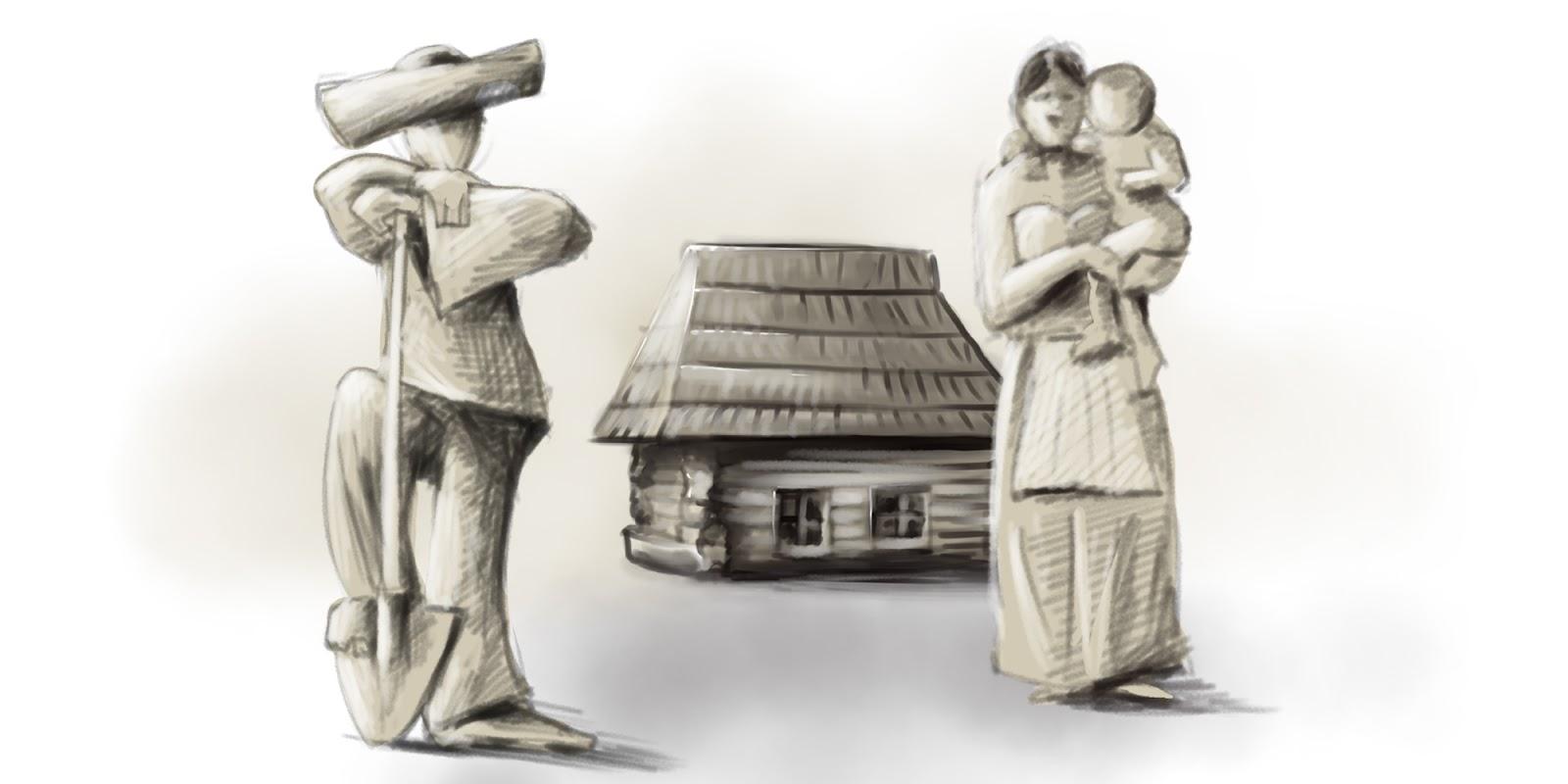 Hrdina so svojou rodinou pred chalupou.