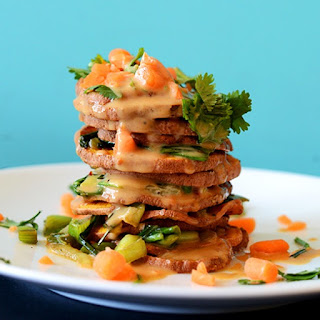 Thai Sweet Potato Stacks with Peanut Sauce Recipe