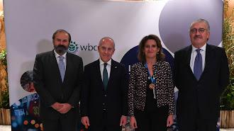 Juan Sánchez-Calero, Francesco Starace, Teresa Ribera y y José Bogas, en la Cumbre del Clima en Madrid.