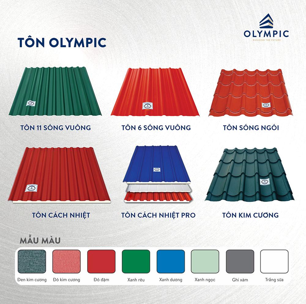 Các sản phẩm nổi bật của tôn Olympic
