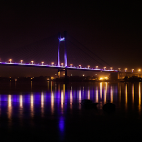 Night at river by Subhajit Basak - City,  Street & Park  Night ( reflection, water reflection, night lights, waterscape, ganges, cityscape, bengal, city, night shots, night photography, india, long exposure, darkness, water, cityscapes, kolkata, nightscene, nightscape, tri color, night view, night, nightography, bridge, night shot, nightscapes, river,  )