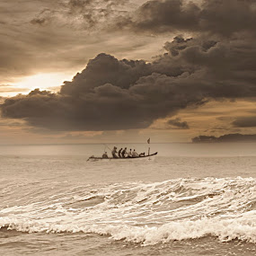Men and the Sea by Pritam Sharma - Landscapes Sunsets & Sunrises ( landscape photography, storm, ocean, sunset, sunsets, evening, landscaping, sea, landscape, storms,  )