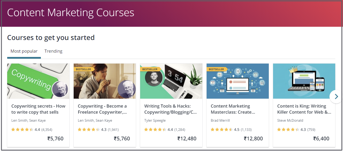content marketing courses