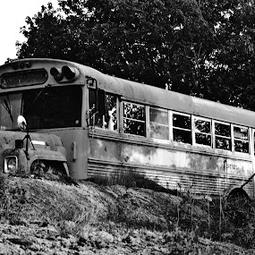 Old Bus by Andy Bigelow - Black & White Objects & Still Life