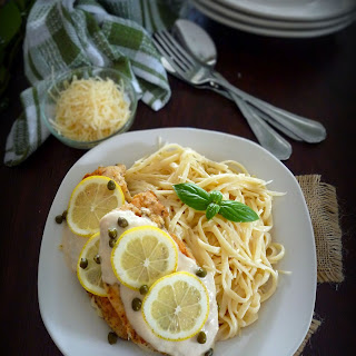 Creamy Lemon Chicken Cutlets with Fettuccine