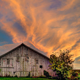 Fire Barn by John Larson - Buildings & Architecture Decaying & Abandoned ( sky, field, barn, clouds, trees )