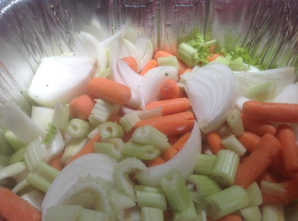 Next add the celery and about 1/2 can of ginger ale. Reserve the rest...