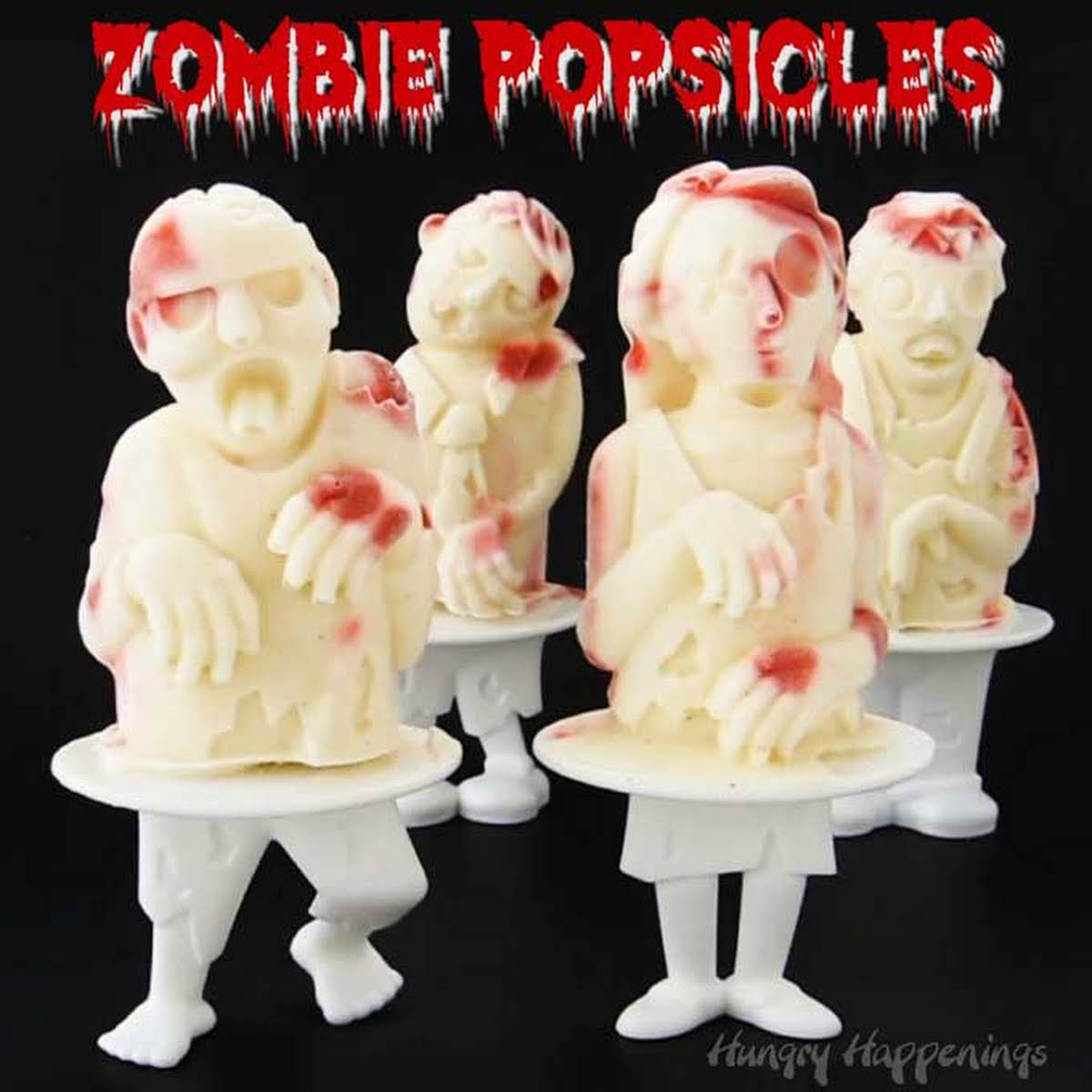 Zombie Popsicles - Bloody Raspberry Cheesecake Popsicle Zombies