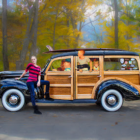 Stephanie Meets Norman Rockwell by Peter Christoph - Transportation Automobiles
