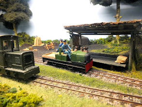 "Photo: 018 The estate railway's work car is a very useful piece of equipment, suited to light transport and utility use around the estate. Photographed here at the small station serving Wheal Clamp, the charcoal production area of the estate woods. For the benefit of those that cannot connect the pun of the module title with the purpose of the area, a ""clamp"" is the name given to a charcoal burning kiln ."