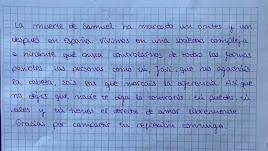 Respuesta de la profesora al alumno publicada en su cuenta de la red social.