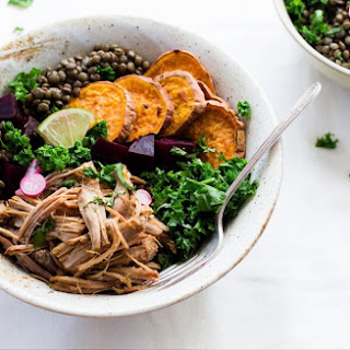 Lentil Rainbow Bowls with Citrus Shredded Pork.