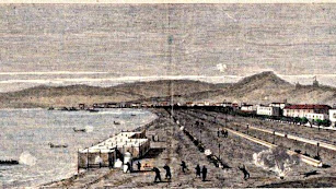 Malecón de Almería, en un grabado de Nicholas Chapuy plasmando el bombardeo cantonal.
