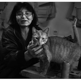 Nena and cat. by Pantelija Ilić - Animals - Cats Portraits