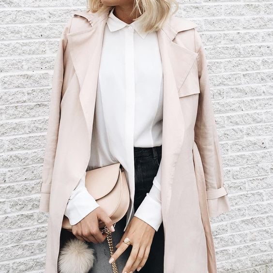 Chic pale outfit with light pink coat, white blouse and jeans for Light Spring women