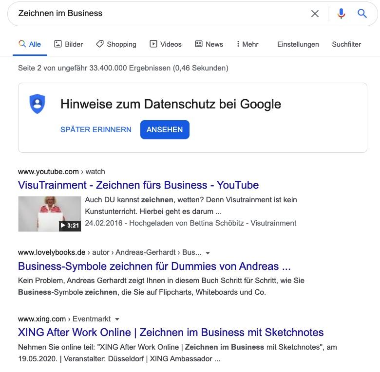 Google Suchergebnisse zur Pressemitteilung zum Online-Event