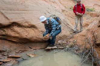 Photo: Doug paves the way; Rim Canyon; PEEC Slot canyons hike with Doug Scott