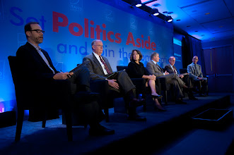 """Photo: Panelists at the """"Assessing Risk: Where Will it Come From"""" panel discussion Friday, Nov. 16, 2012 at the RAND Politics Aside Event in Santa Monica, Calif. (Left to right:) Moderator Stephen Adler, Admiral James Loy, Sheila Bair, Brian Michael Jenkins, Stephen Roach and Robert Lempert."""