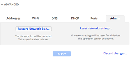 Reset network settings in Google Fiber account