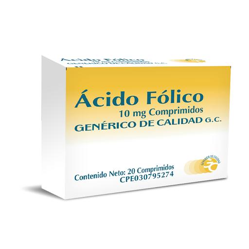 Ácido Fólico Genérico De Calidad 10mg 20 Comprimidos Generico de Calidad