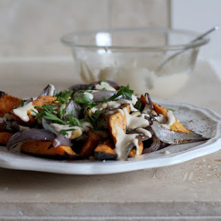 Roasted Sweet Potatoes & Red Onions with Tahini & Za'Atar Recipe
