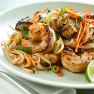 Grilled Shrimp and Eggplan Summer Noodle Bowls.