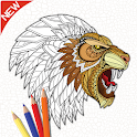 Color therapy: Drawing coloring book icon