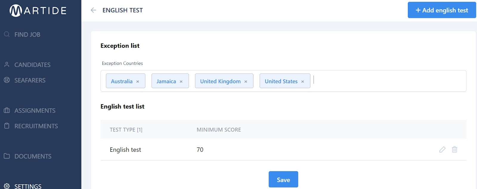 screenshot of Martide website showing how to exclude exempt countries.