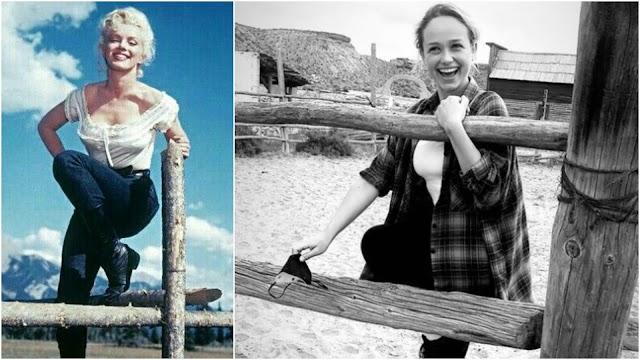 La actriz Rose Williams ha compartido una foto desde Tabernas en la que emula, divertida, a Marilyn Monroe.