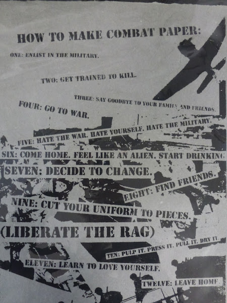 """Photo: HOW TO MAKE COMBAT PAPER By Chris Arendt.  Print date unknown.   """"The ripping the tearing of the seams, breaking down into something new ... (there's) so much information and experience in that uniform. ... You reclaim those experiences by reconstituting it, remaking it into paper,"""" said Keefe of the paper-making process. http://to.pbs.org/IoY52r"""