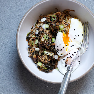Enoki Mushroom and Kimchi Bowl With Poached Eggs