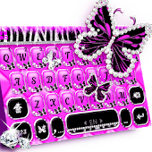 Luxury Butterfly Zebra Keyboard Theme