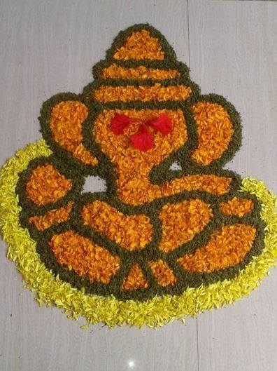 flower Boarder Rangoli Design For Ganesh Chaturthi