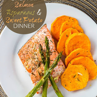One Pan Salmon, Asparagus, & Sweet Potato Dinner