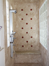 Photo: New Shower tile and stone work, plus the new multi-head shower fixture