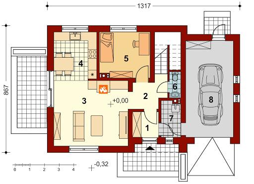 Pinczer 2 z garażem - Rzut parteru