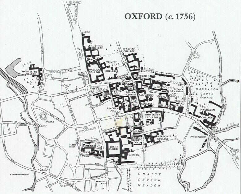 Map of Oxford used to illustrate a list of Oxford professors of poetry from 1708-1999.