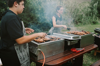 Photo: Caterers grilling away